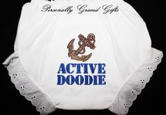 Military USN Navy Sailor Active Doodie Custom Embroidered Bloomers by PersonallyGraced, $12.00 https://www.facebook.com/PersonallyGracedGifts