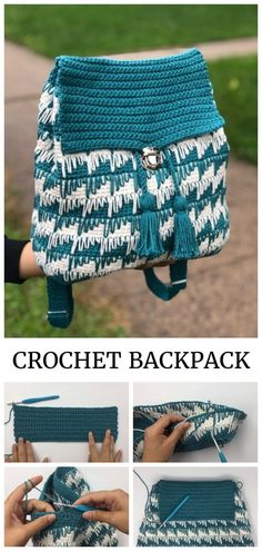 Easy Crochet Backpack Free Pattern + Video Easy Crochet Backpack Free Pattern + VideoIf you want to make an easy crochet backpack, this is a great project for school, camp or anywhere Purse Patterns Free, Crochet Purse Patterns, Bag Pattern Free, Crochet Handbags, Crochet Purses, Crochet Backpack Pattern, Mochila Crochet, Diy Crochet, Crochet Ideas