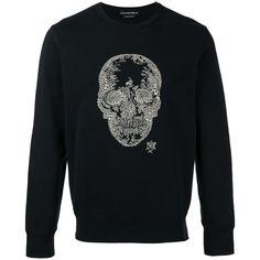 Alexander McQueen skull embellished sweatshirt ($1,080) ❤ liked on Polyvore featuring men's fashion, men's clothing, men's hoodies, men's sweatshirts, black and alexander mcqueen