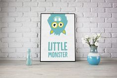 Little Monster print, perfect for any child who loves monsters. Choose from a range of colours, or have your own custom colour. If you have chosen custom colour then please state what colour you would like in the note to seller box in checkout. Printed on 170gsm Premium high