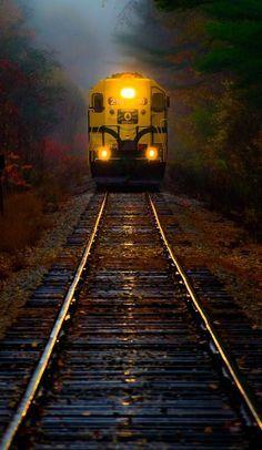 Train in rain.. White Mountains, New Hampshire, U.S   by Derek Kind