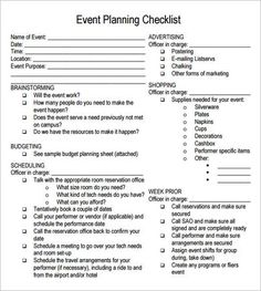 free printable party planning papers | Event Planning Checklist - 7 Free Download For PDF | Sample Templates