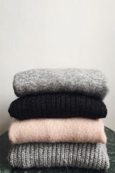 Which one would you choose? Marie Von Behrens, Chunky Knitwear, Chunky Sweaters, Simple Wardrobe, Pullover, Barbour, Sweater Weather, Grey Sweater, Minimalist Fashion