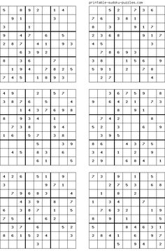 There are 4 sudoku puzzles per page. The printable sudoku puzzles pages below are listed in order of difficulty. If you are new to sudoku, start with an easy puzzle. Sudoku Puzzles, Crossword Puzzles, Logic Puzzles, Printable Puzzles For Kids, Mazes For Kids, Free Printables, English Worksheets For Kids, Fun Math Games, Puzzle Books