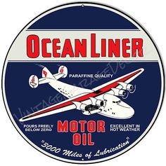 Create a Unique Vintage Garage Look with our Products. This is a reproduction of a vintage Ocean Liner Motor Oil Advertising Metal Sign. Made to look old, this round sign is made of Aluminum. Vintage Metal Signs, Unique Vintage, Vintage Style, Laughing Dog, Gas Pumps, Old Signs, Oil And Gas, Gas Station, Poster Prints
