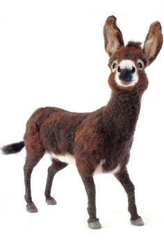 Needle Felted Donkey Sculpture, Donkey, Donkey Art, Custom order for MARIA