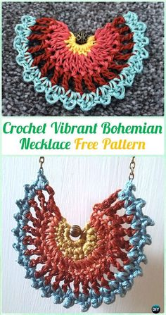Crochet Vibrant Bohemian Necklace Free Pattern - #Crochet #Jewelry Necklace Free Patterns