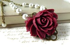 Victorian Flower Necklace Wine Red Rose Floral by MsBsDesigns, $36.00