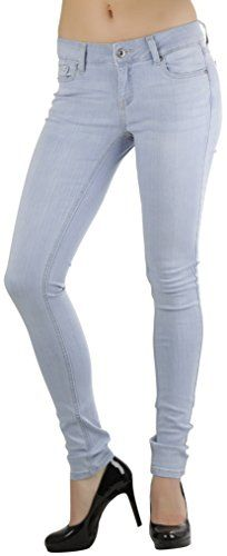 ToBeInStyle Women's Skinny Jeans with Whiskers - Light Wash - Size 18