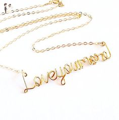 Gold Love You More Necklace. 14k Gold Filled Custom Love Necklace. - Wedding nacklaces (*Amazon Partner-Link)