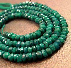 4mm Emerald Faceted Rondelles