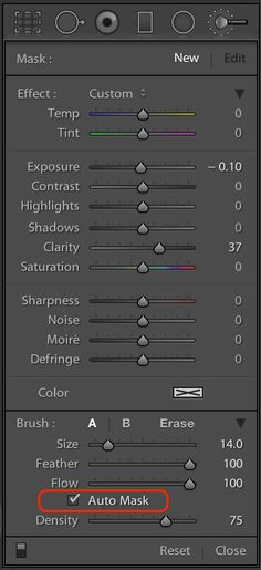 Use the Auto Mask for fine tuned, edge-detected adjustments