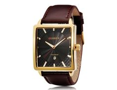 CURREN 8117 Men's Square Dial Analog Watch with Date Display (Black)$17.99