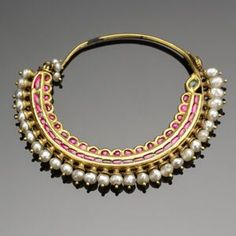 Beautiful gold antique nath with pearls and enamel
