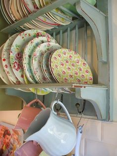 Pastel blue plate rack