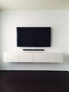 Simple white wall mounted tv cabinet comprise white How high to mount tv on wall in living room