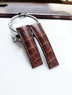 Items similar to Alligator Leather Watch Strap - Brown Watch Band -fit for deployment clasp Brown Leather Brown Alligator on Etsy Rolex, My Etsy Shop, Watches, Trending Outfits, Brown, Unique Jewelry, Handmade Gifts, Check, Shopping
