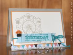 A gorgeous birthday card, spotlighting one of the cupcakes on the stamped Ferris Wheel from the Carousel Brithday stamp set.  www.creativestamping.co.nz | Stampin' Up! | 2017 Occasions Catalogue