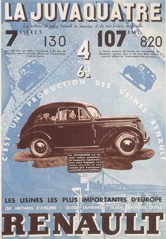 Advertising poster for the Renault Juvaquatre. This poster boasts Retro Advertising, Vintage Advertisements, Retro Ads, Vintage French Posters, Etiquette Vintage, Car Posters, Movie Posters, Car Illustration, Top Cars