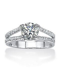 TCW Round Cubic Zirconia Platinum over Sterling Silver Engagement Anniversary Split Shank Ring Cubic Zirconia Engagement Rings, Cubic Zirconia Rings, Silver Jewelry, Fine Jewelry, Silver Ring, Latest Jewellery, Anniversary Rings, Jewelry Watches, Fashion Jewelry