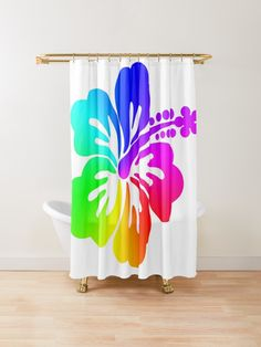Rainbow ombre floral graphic … a tropical hibiscus flower… against plain white background. Colorful design for her. Flower Shower Curtain, Shower Curtains, Plain White Background, Hibiscus Flowers, Online Gifts, Buttonholes, Finding Yourself, Tropical, Rainbow
