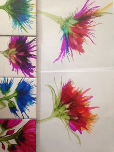 Working on alcohol ink flowers by Lin Crocco
