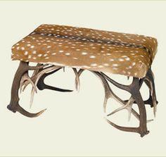 Rustic - Axis Deer and antler foot stool Hunting Crafts, Antler Crafts, Antler Art, Hunting Gear, Wood Shop Projects, Diy Projects, Deer Hide, Diy Rustic Decor, Deer Antlers