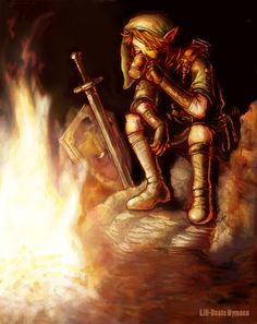 Link sitting by the fire By lill on DeviantArt