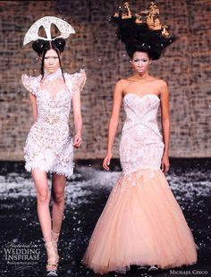 Fall/Winter Haute Couture Wedding dresses by philippines-born fashion designer Michael Cinco -- Michael Cinco Wedding Gowns 2010 Pink Wedding Dresses, Wedding Gowns, Bridesmaid Dresses, Wedding Pics, Bridal Gown, Wedding Bells, Bridal Poses, Bridal Photoshoot, Couture Dresses