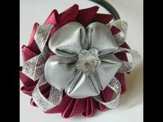 Цветок из круглых лепестков канзаши своими руками | Страна Мастеров
