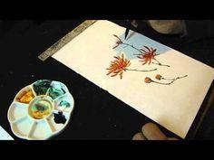 Japanese Chinese brush painting Chrysanthemum in watercolors