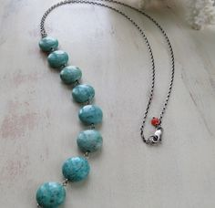 Chrysocolla Y Necklace, Blue/Green Gemstone and Sterling Silver, Round Coin Wire Wrapped Boho Layering Necklace by ~ Hello Sweetie Handmade by HelloSweetieHandmade on Etsy