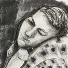 Mack Resting #charcoalportrait #charcoaldrawing #charcoal #portraitdrawing…