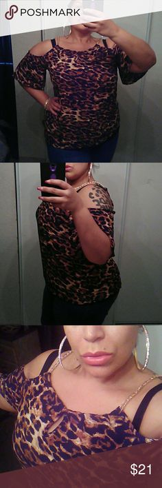 NEW Sexy Top NWOT.. Gorgeous cheetah print.. Sexy gold chain neck.. Cold shoulder.. Flutter sleeve style.. Tag says 3X could work for 2X as well Tops