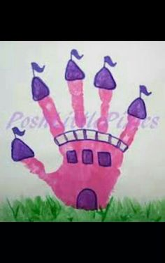 Princess castle handprint art