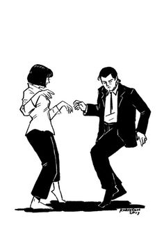 Pulp Fiction (1994) Pulp Fiction Tattoo, Arte Pulp Fiction, Movie Poster Art, Film Posters, Art Sketches, Art Drawings, Desenio Posters, Tarantino Films, Mia Wallace