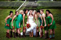 Definitely bridesmaids are wearing boots, but I love the different dresses in different shades of green...idea!