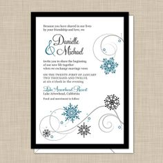 Snowflake+Wedding+Invitations+by+onereverie+on+Etsy,+$4.00