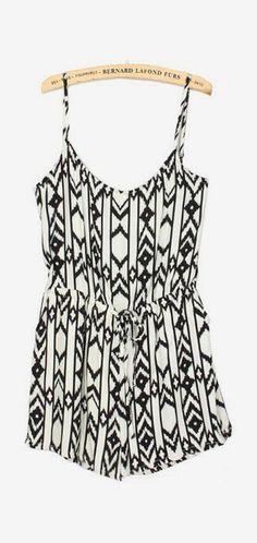 White Spaghetti Strap Geometric Print Jumpsuit pictures. Love it