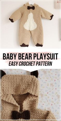 Crochet Baby Bear Playsuit Set FREE Pattern - easy crochet Playsuit pattern for beginners