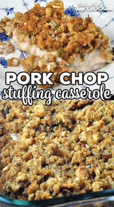 This Pork Chop Stuffing Casserole recipe for your oven is a delicious comfort food recipe that is simple to make and done in under and hour start to finish! Easy Pork Chop Recipes, Easy Casserole Recipes, Stuffing Recipes, Pork Recipes, Cooking Recipes, Best Pork Chop Recipe, Spinach Recipes, Cooking Tips, Diet