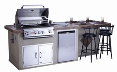 Culinary Q Outdoor Island Kitchen.  Standard features include: Angus BBQ Stainless Steel 4-burner grill, Porcelain tile counter top, Stainless Steel Refrigerator, Stainless Steel Access Door with lock & key, GFCI electric outlet  #BULLislands #BullOutdoorProducts #BBQIsland