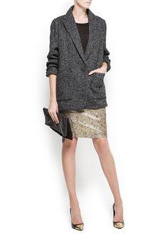 Fiiin Herringbone short coat #mango