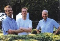Jaque Wirtz (far right, with sons)   Jane Percy, the Duchess of Northumberland hired Jacques Wirtz, a Belgian landscape architect considered by some the modern equivalent of the designer of the gardens at Versailles to reinvent the public garden. His design include a Serpent Garden with swirling yew hedges and eight stainless steel water sculptures by William Pye, an English sculptor. He is the master of the monoculture with sweeping waves of grasses, sculptured boxwood, and yews.