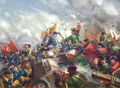 Melee combat between the Swedes and Russians, Great Northern War.