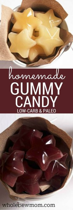"Homemade Gummy Candy - that's Yummy and Sugar-Free and has a healthy special ingredient to boot! Vegan option included. These are a great fun snack that are sooo much better for you than store-bought ""gummies"" and they're cheaper too :)!"