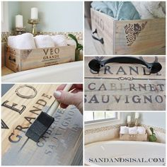 Upcycled wine crate aged with stain and embellished with hardware for storage.
