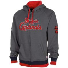 b96b1e288 Stitches St. Louis Cardinals Brushed Full Zip Hoodie - Gray