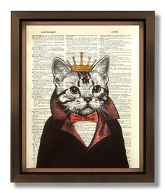 DECORATIVE ART, Wall Hanging, CAT Decor, Fun Cat Collage, Unique Cat Gifts, Tuxedo Cat Bow tie, Dictionary Art Print Cat Book Art - Cat King on Etsy, $10.00