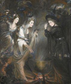 The Three Witches from Macbeth (Elizabeth Lamb, Viscountess Melbourne; Georgiana, Duchess of Devonshire; Anne Seymour Damer) by Daniel Gardner 1775 National Portrait Gallery NPG 6903 Illustrations Harry Potter, Shakespeare Macbeth, William Shakespeare, Three Witches, Traditional Witchcraft, Witchcraft For Beginners, Beautiful Witch, Witches Cauldron, Witches Brew